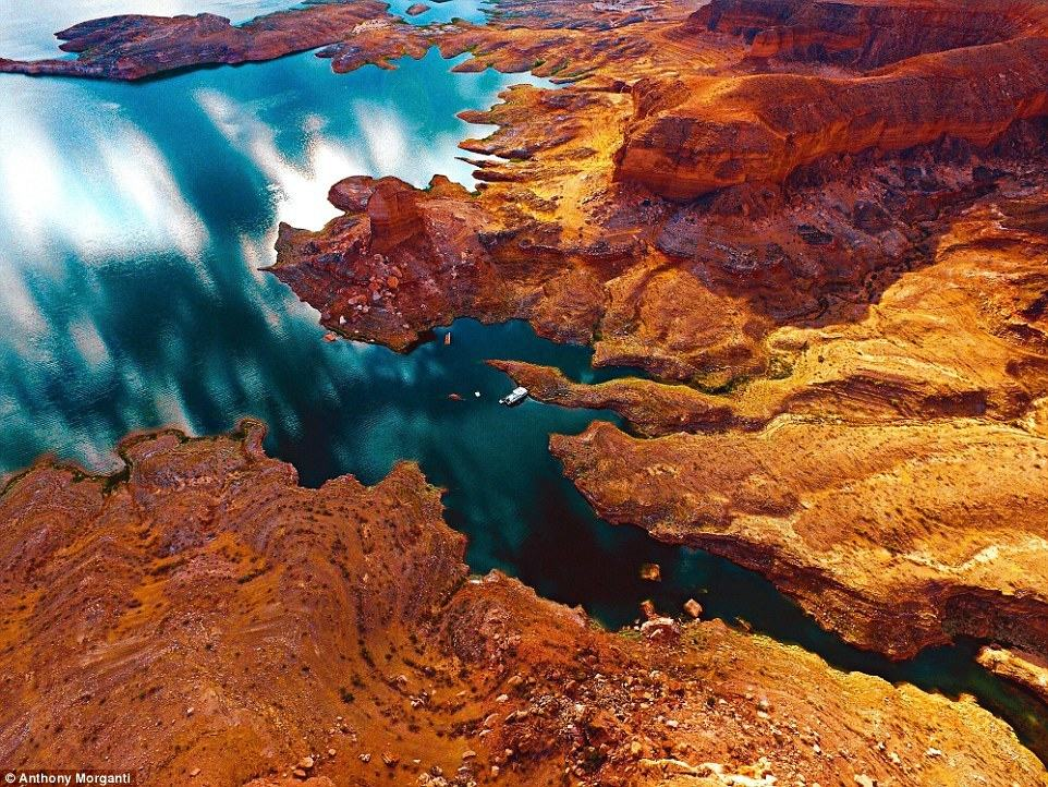 Fire and Ice: Instagram user @anthony_morganti posted this mesmerising shot of a fiery-coloured coastline round Lake Mead, Nevada