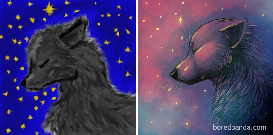 Progress Of Drawing A Wolf By Tina Johanne