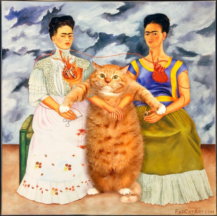 """<a href=""""http://fatcatart.ru"""">Фрида Кало, Две Фриды и один кот</a>"""