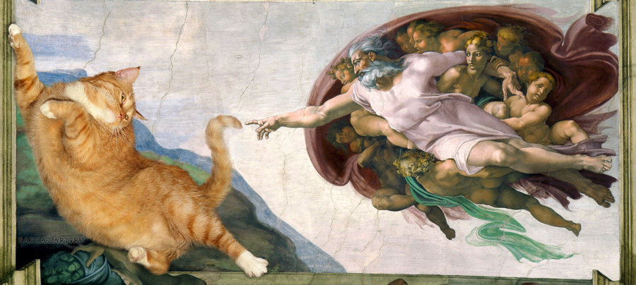 "<a href=""http://fatcatart.ru/2014/02/sotvorenie-kota/"">Микеланджело, Сотворение Кота</a>"