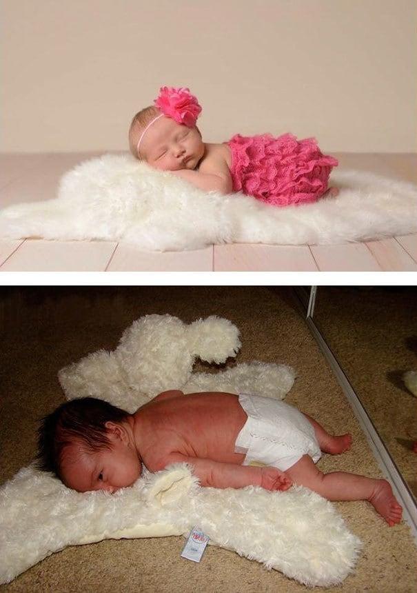 Cute Baby Sleeping On Fur. Nailed It