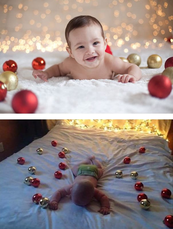 Christmas-themed Baby Photoshoot. Nailed It