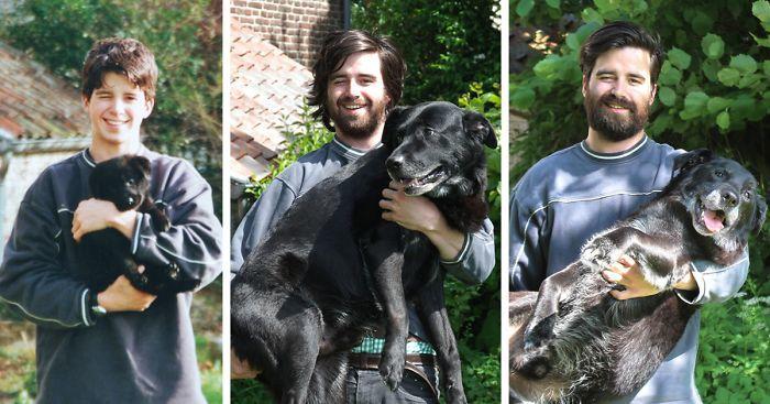 Guy Воссоздает Фото со своей собакой 15 лет спустя прощаться