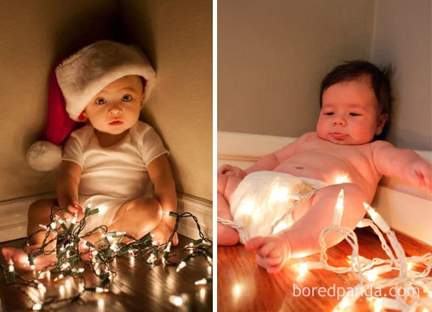 Baby And Christmas Lights. Nailed It