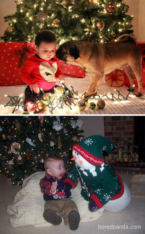 Baby By The Christmas Tree. Nailed It