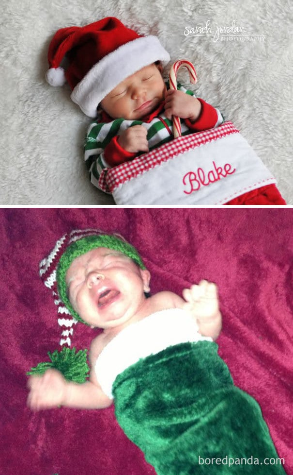 Baby In A Christmas Stocking. Nailed It