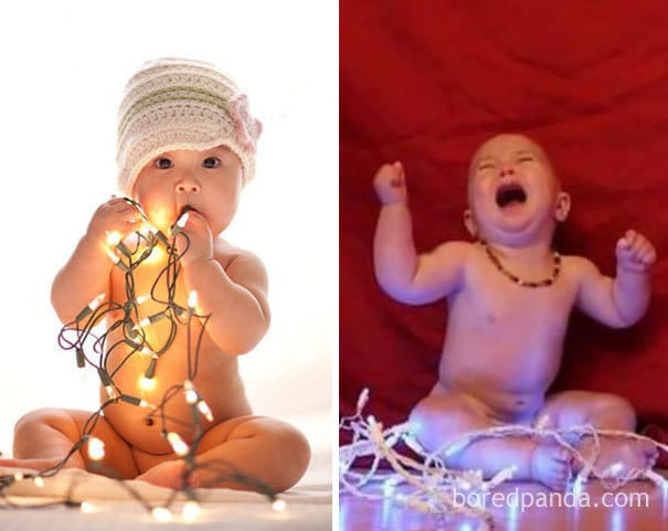 Baby With Christmas Lights. Nailed It