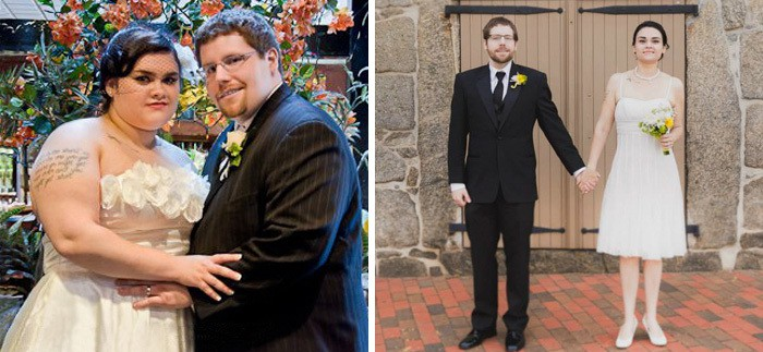 For Our 4th Anniversary My Wife And I Retconned Our Wedding Photos. My Wife Lost 109 Lbs, And I Lost 129 Lbs (about 1,5 Years)