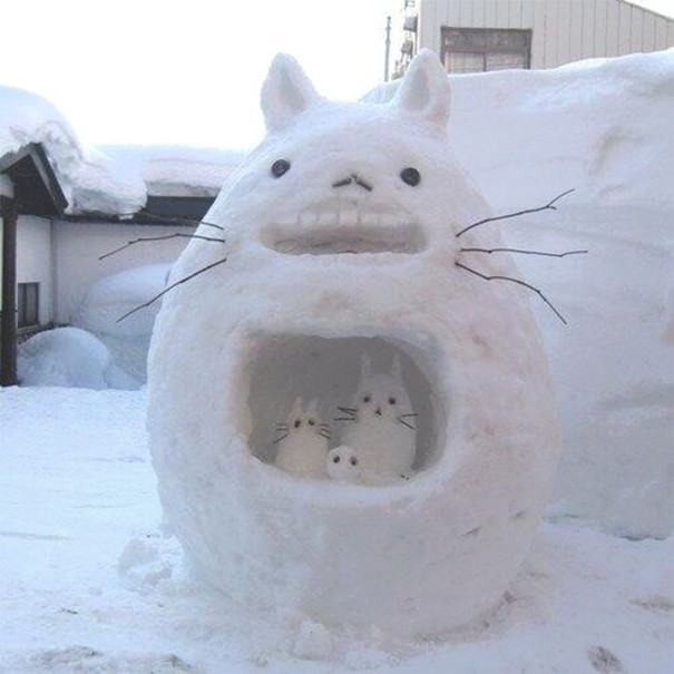 Totoro And His Children Snow Sculpture