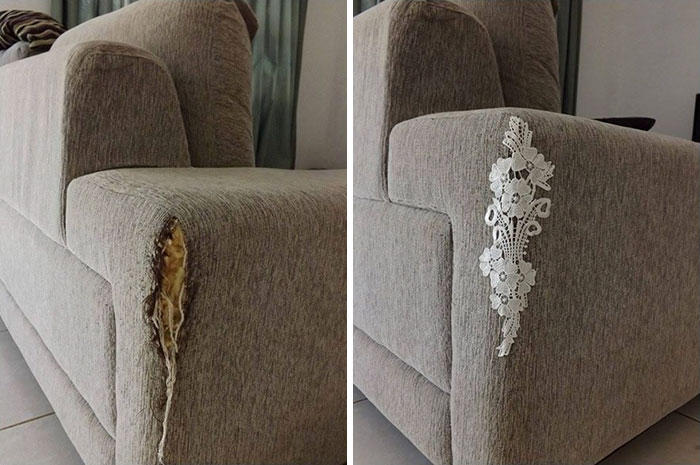 Repair Torn Couch With Lace
