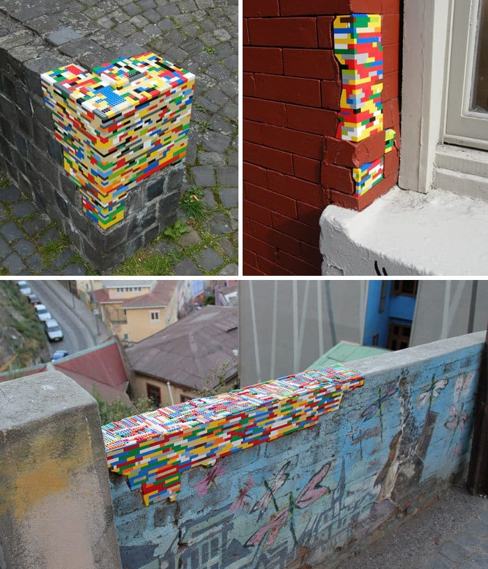 Lego Pieces Are Used To Repair And Fill Holes In Broken Walls
