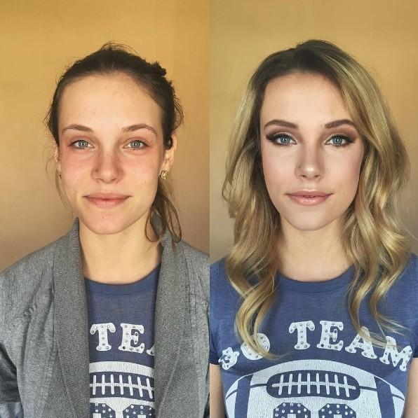 5. Мягкое сияние до и после, до и после макияжа, макияж