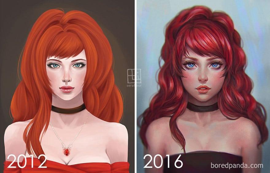 Progression To Semi-Realistic Style By Abigail Diaz