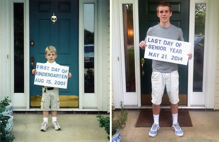 My Son On First Day Of Kindergarten And Last Day Of High School