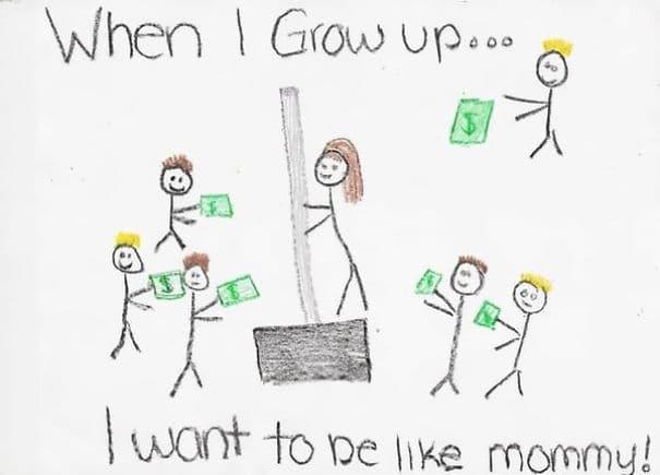 Маленькая девочка Дрю картину ее мамы на работе. Мать фактически продает снегоуборочной лопатой At Home Depot