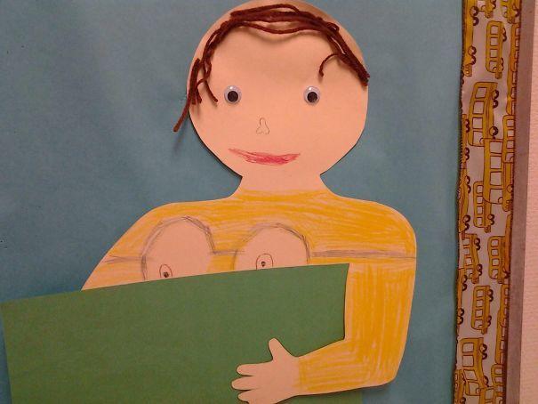 Мой друг 8-летний кузен сделал этот Автопортрет в классе искусства. Он был одет в рубашку приспешников. Излишне говорить о его семье Confused на первый взгляд