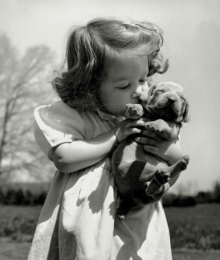 Christina Goldsmith Kissing A Weimaraner Puppy From Her Father