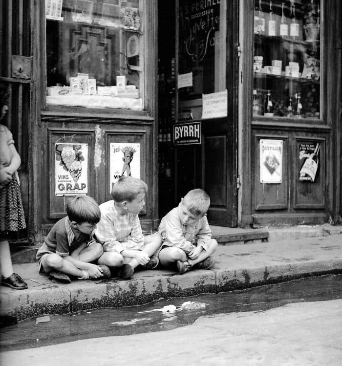 Children Playing With Paper Boats, Paris, 1950