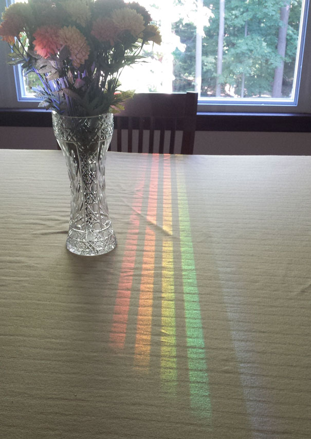 This Spectrum Reflected Off The Dining Room Window Through A Chair Back