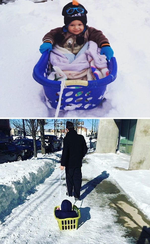 Use A Laundry Basket And Rope To Make A Pull-Along Snow Sled
