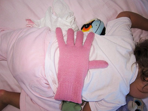 Put A Bean Filled Glove On Your Baby
