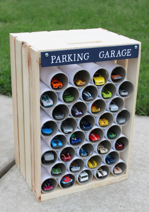 Use Toilet Paper Rolls To Create A Garage For Toy Cars