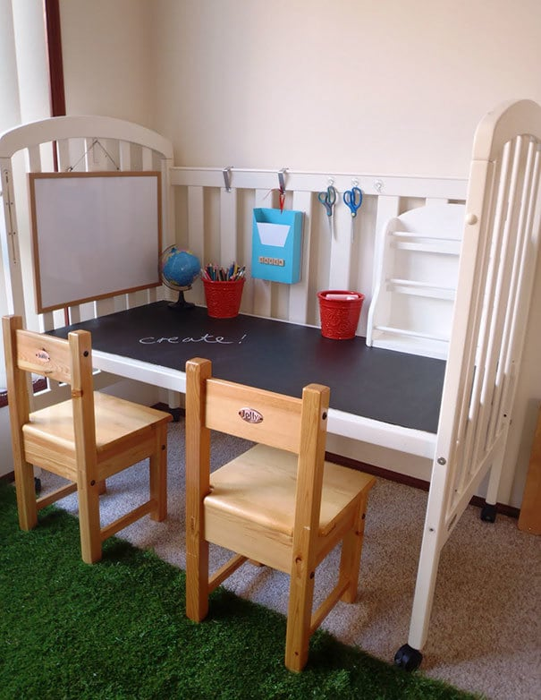 Recycle Old Cot Into A Craft Or Work Spot For Your Kids