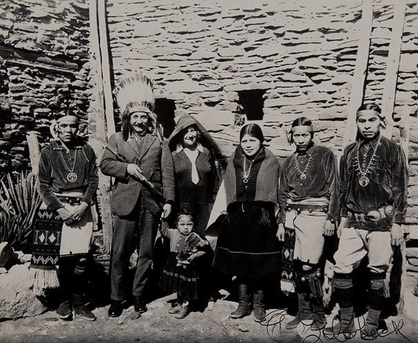 Albert Einstein In A Traditional Headdress, At The Grand Canyon With A Local Tribe In 1922
