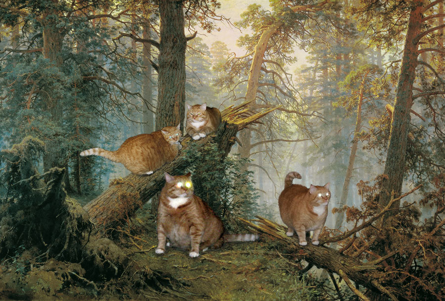 "<a href=""http://fatcatart.ru/2011/02/koty-ili-medvedy/"">Шишкин, Утро в сосновом лесу</a>"