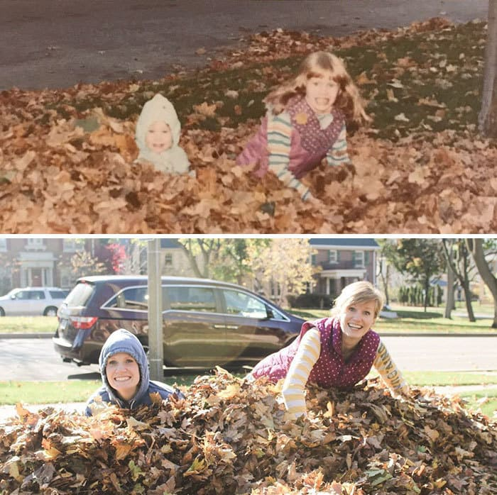 Old Family Photos: Fall Leaves Edition