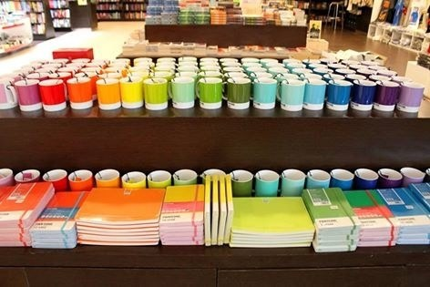These colour-coordinated mugs and books.