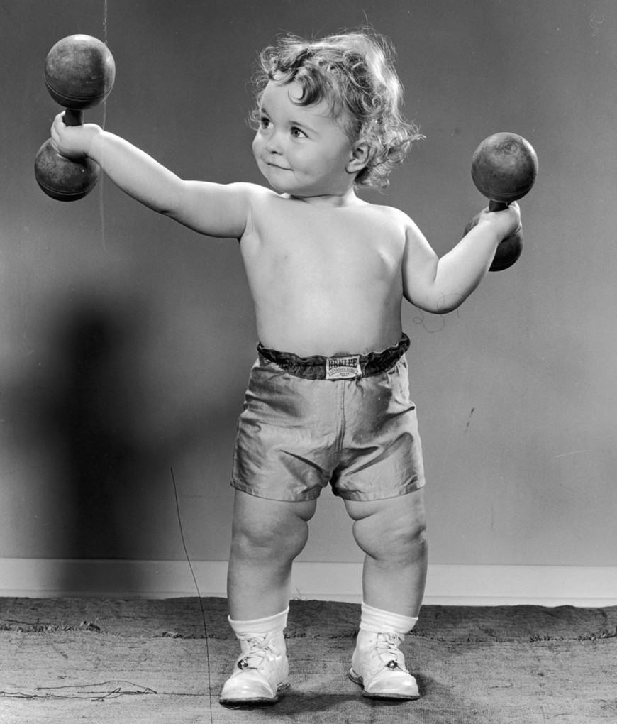 Dumbbells for toddlers, circa 1945:
