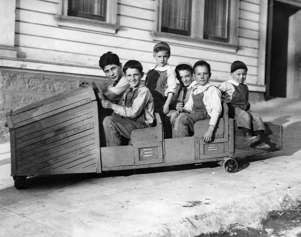 Wooden boxcar racer for six, 1940s: