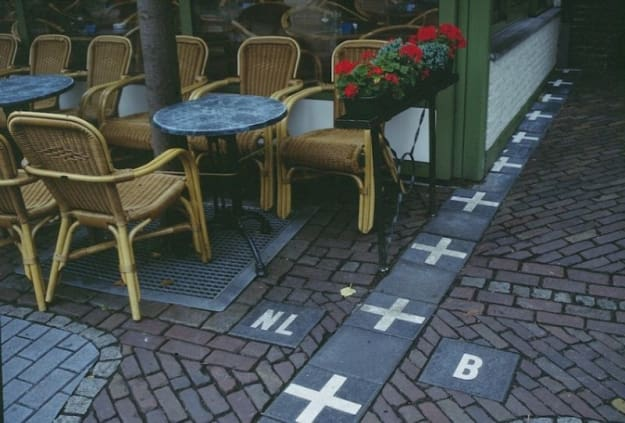 Baarle-Hertog is a municipality in the Netherlands consisting of several Belgian exclaves. Because of this, the border lines cut through restaurants, houses, and shops. They can get extremely complicated. I mean...just look at the photo above.