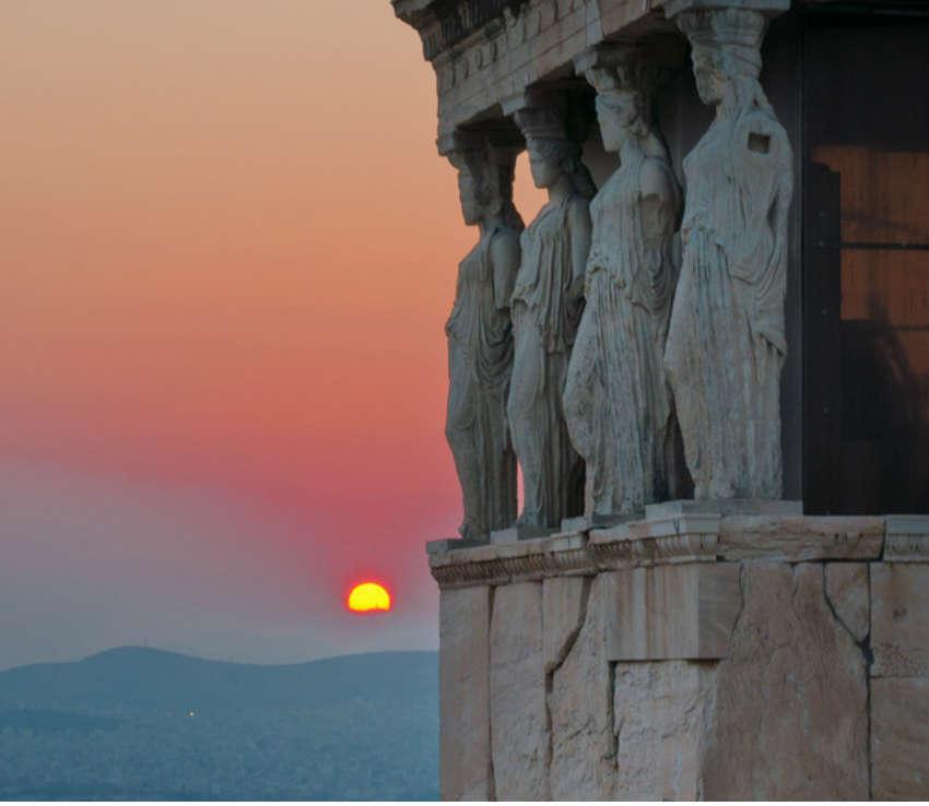 красивый закат афины