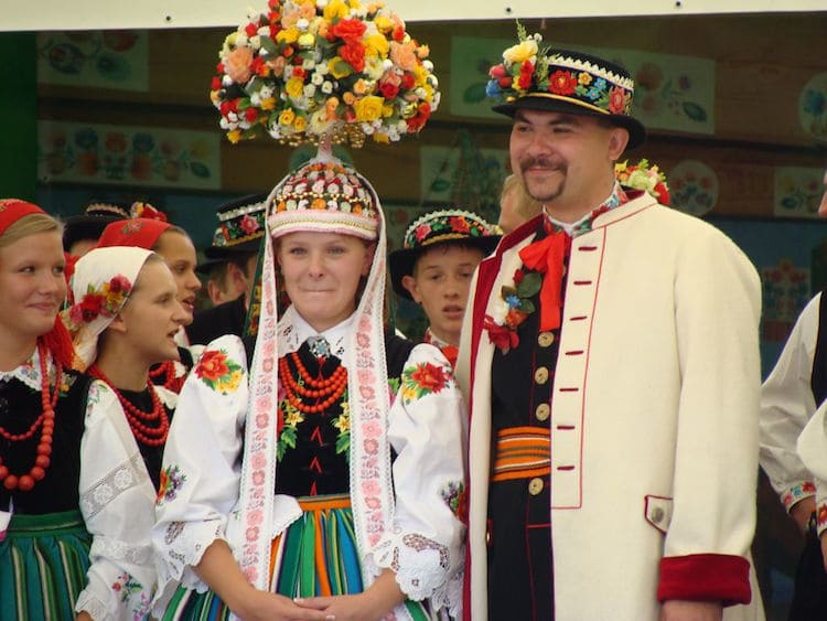 Poland Polish traditional wedding outfits bride groom