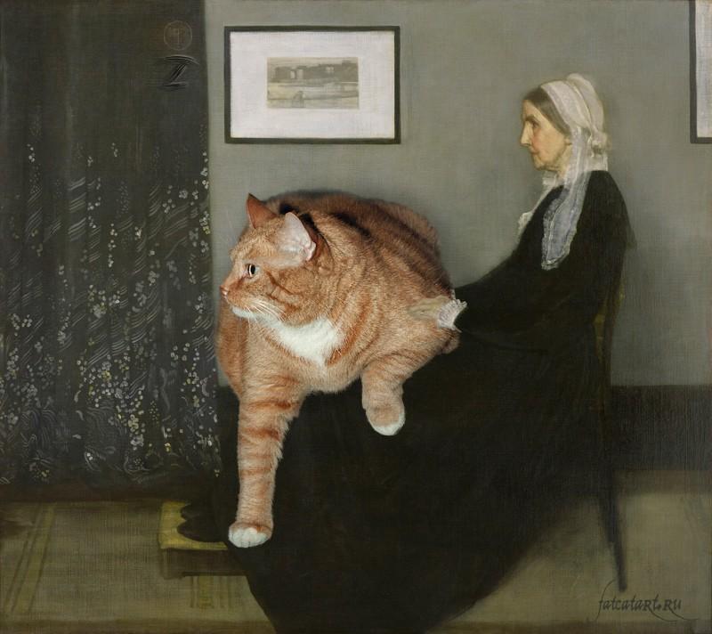 """<a href=""""http://fatcatart.ru/2012/06/mama-uistlera/"""">Джеймс Уистлер, Аранжировка в сером, чёрном и рыжем. Мать художника с котом</a>"""