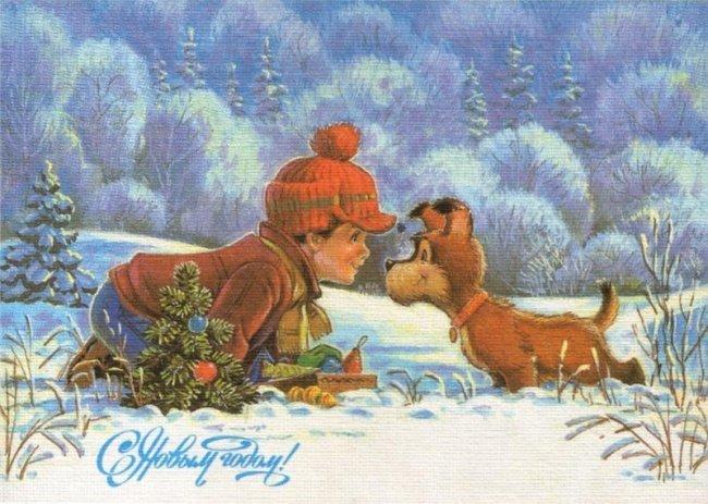 Новогодние открытки времен СССР