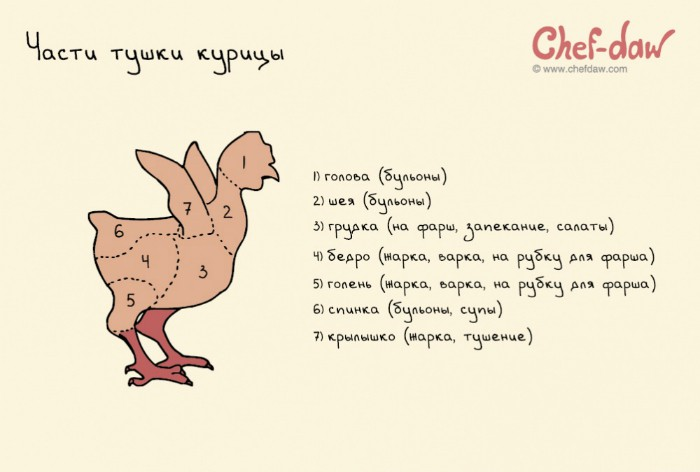 Способы приготовления разных частей куриной тушки.