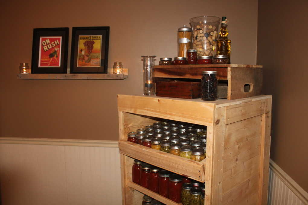 Canning Pantry Cupboard Built from Pallets
