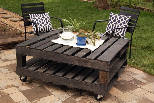 Turn two wood pallets into one fabulous rolling table.
