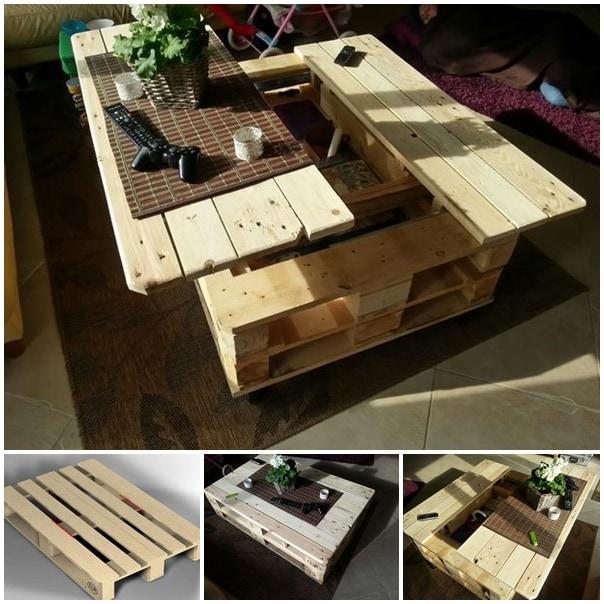 pallet coffee table with storage-wonderfuldiy