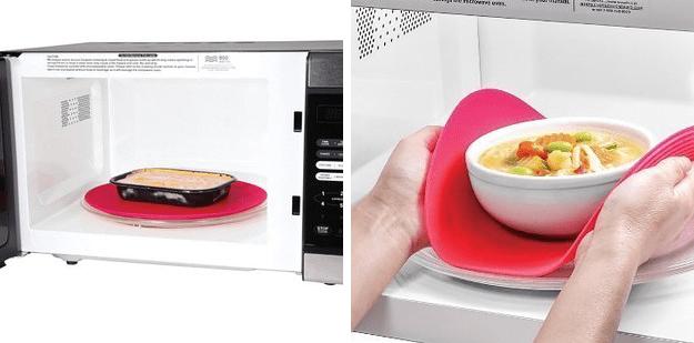 15. Силиконовый коврик для микроволновки, который позволит вам спокойно вытащить еду, не обжигаясь при этом гаджеты, неуклюжие, хитрости