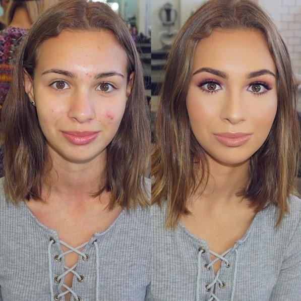 3. Идеальная кожа до и после, до и после макияжа, макияж