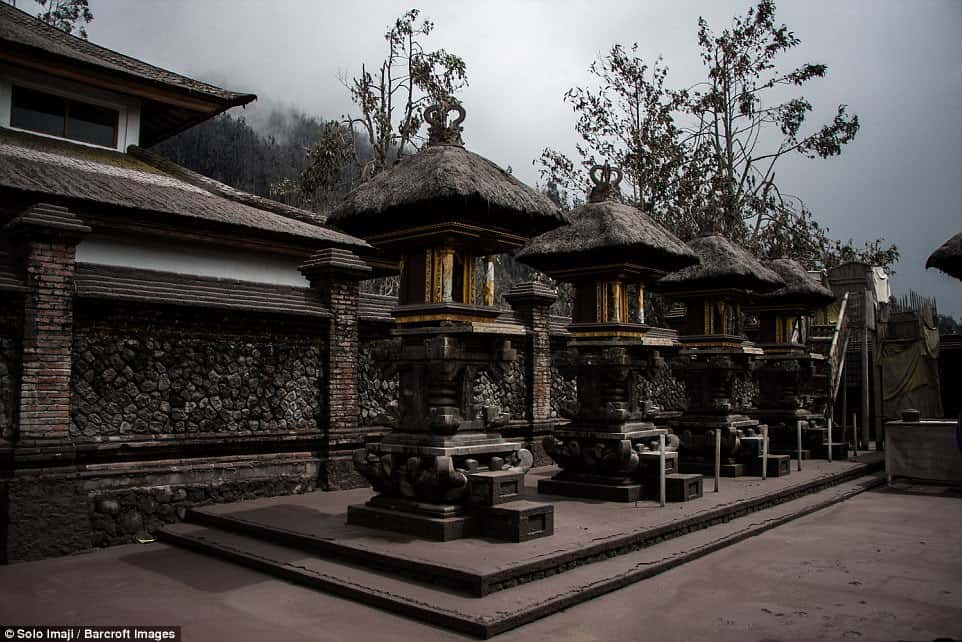 The now-blackened temples that are situated inside the volcano