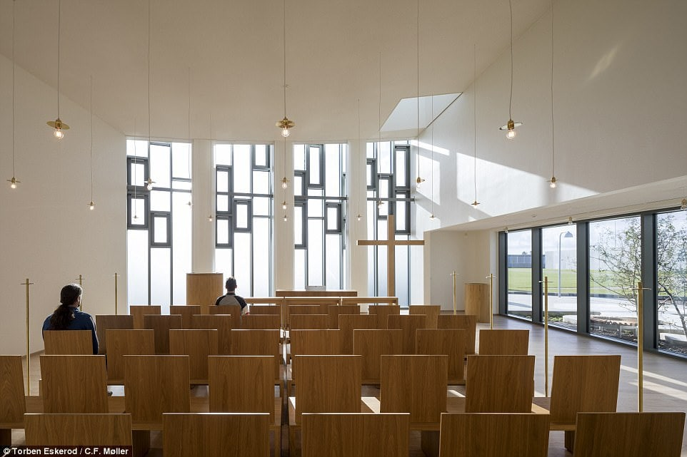 During their downtime, the prisoners can wander about the campus - the size of 18 football fields - and enjoy study sessions, exercise, art classes or time praying. Pictured: The church