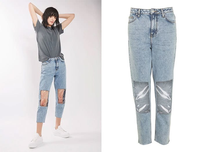 Clear Panel Mom Jeans