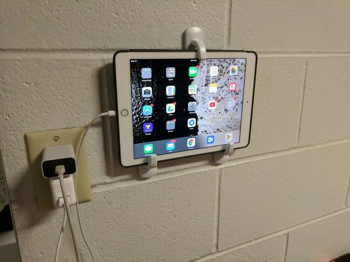 Mount An Ipad Or Tablet With Some Command Hooks For An Easy TV Or Night Clock In College. Just Slide It Out For Use!