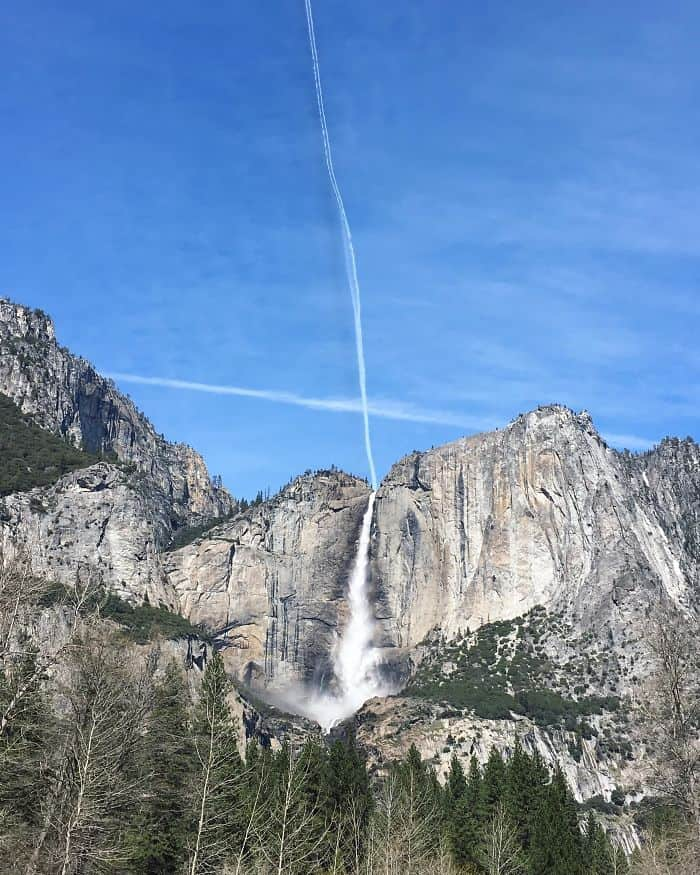 It Looks Like A Single Stream Of Water Is Falling From The Sky To Feed Yosemite Falls
