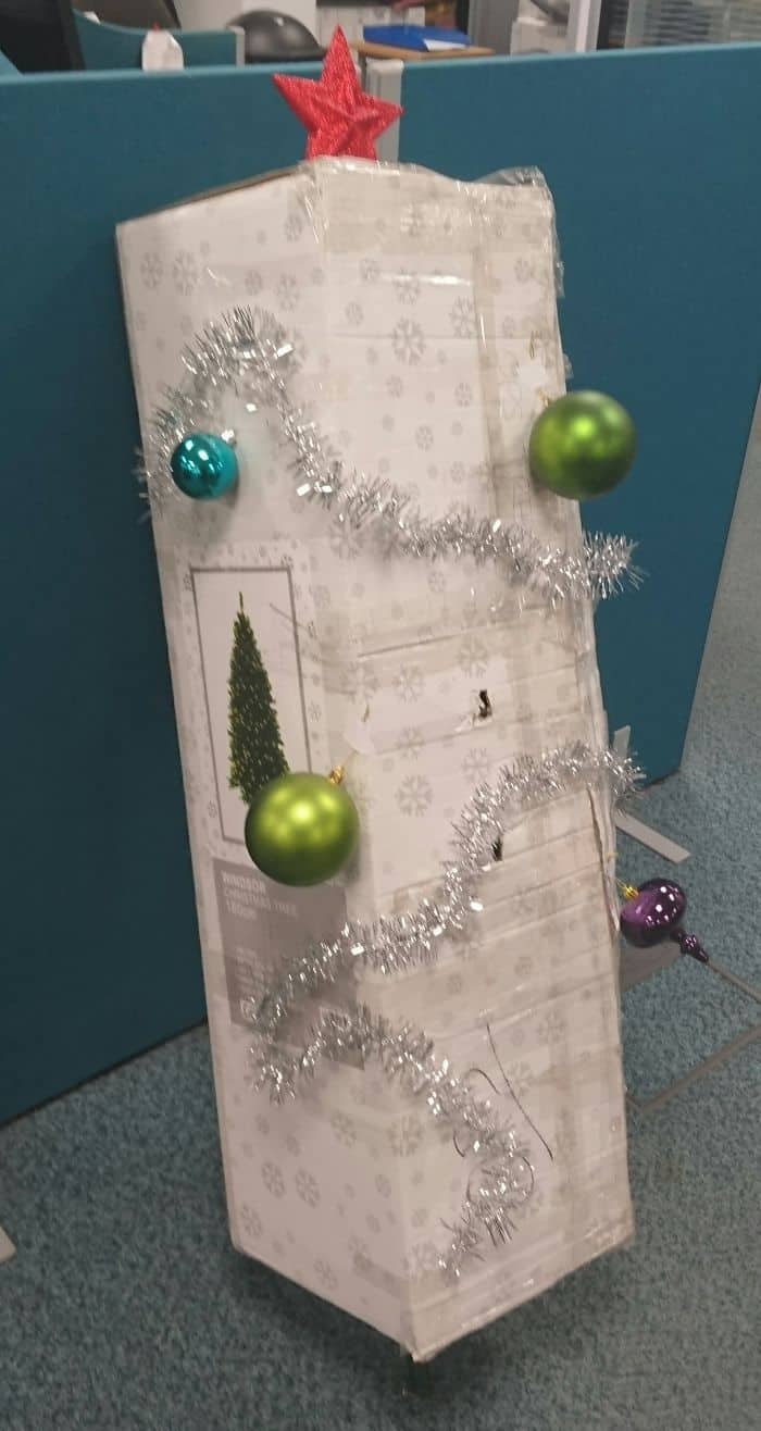 No One At Work Has Taken Responsibility For Decorating The Christmas Tree, For The Last Week It Has Been Propped Up In Its Box Waiting. Today, I Stepped Up To The Plate